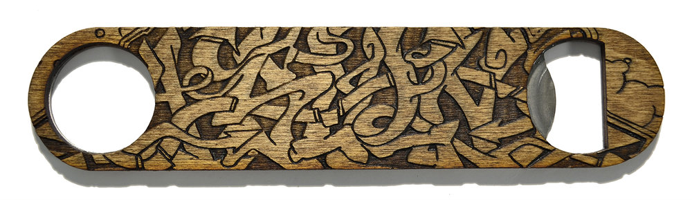 wooden bottle opener graffiti