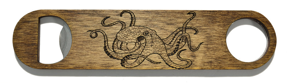 wooden bottle opener octopus