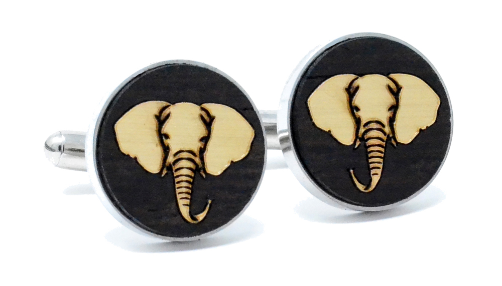 Golden Elephant Cufflinks Wenge