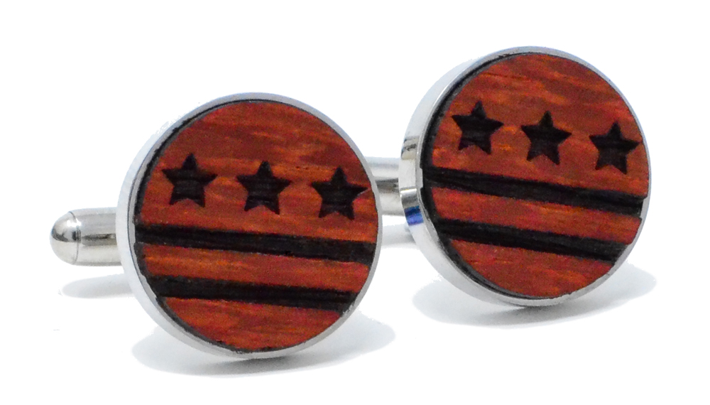 DC Flag Cufflinks Padauk