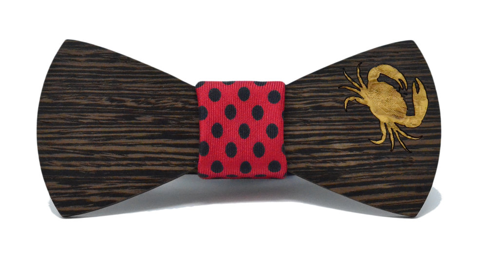 Crab Inlay wooden Bow Tie