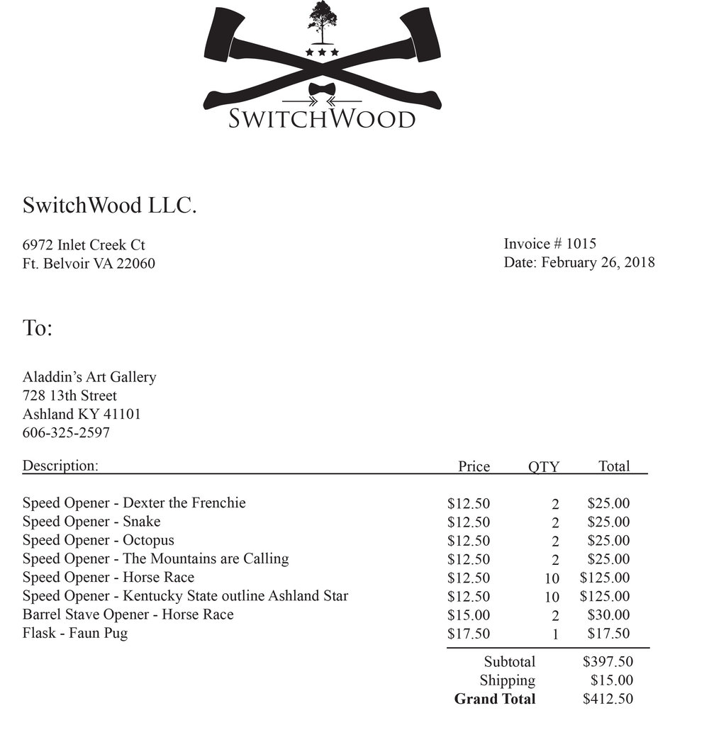 Switchwood Invoice 1015