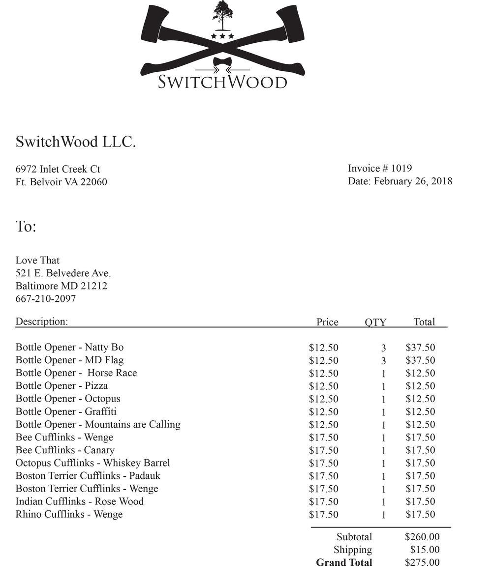 Switchwood Invoice 1010