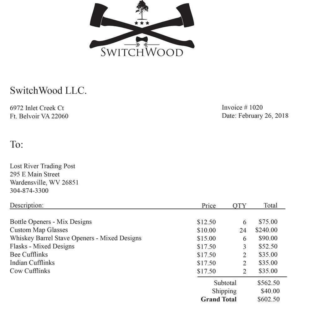 Switchwood Invoice 1020