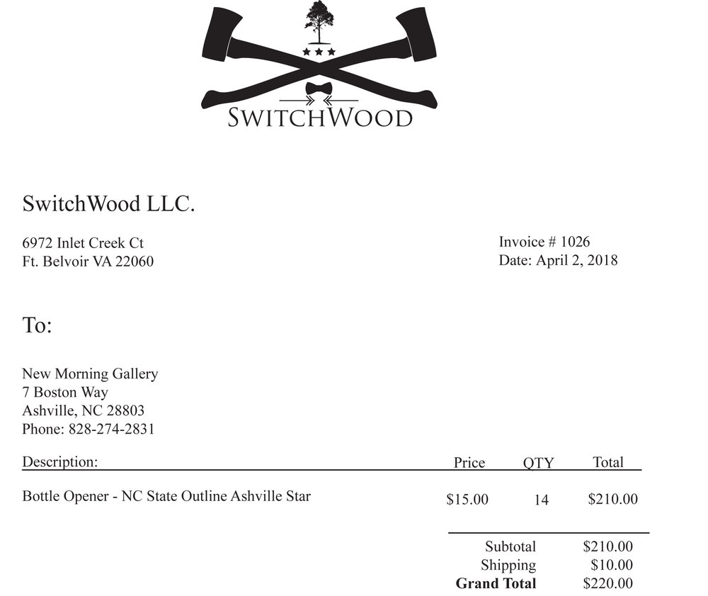 Switchwood Invoice 1010