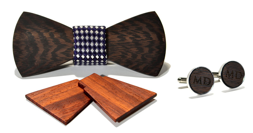 rook interchangeable wood bow tie and monogram stainless steel w