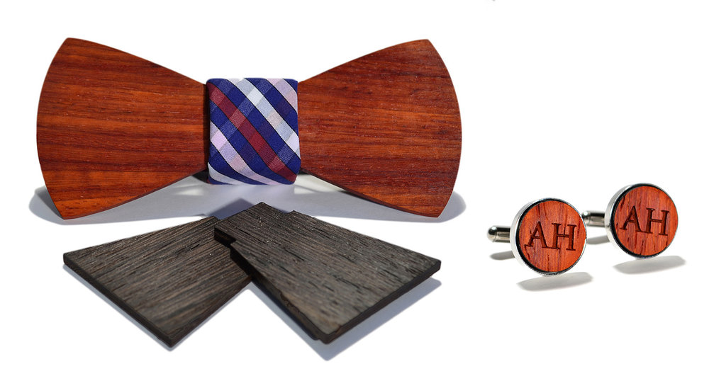 barcelona interchangeable wood bow tie and stainless steel cuff