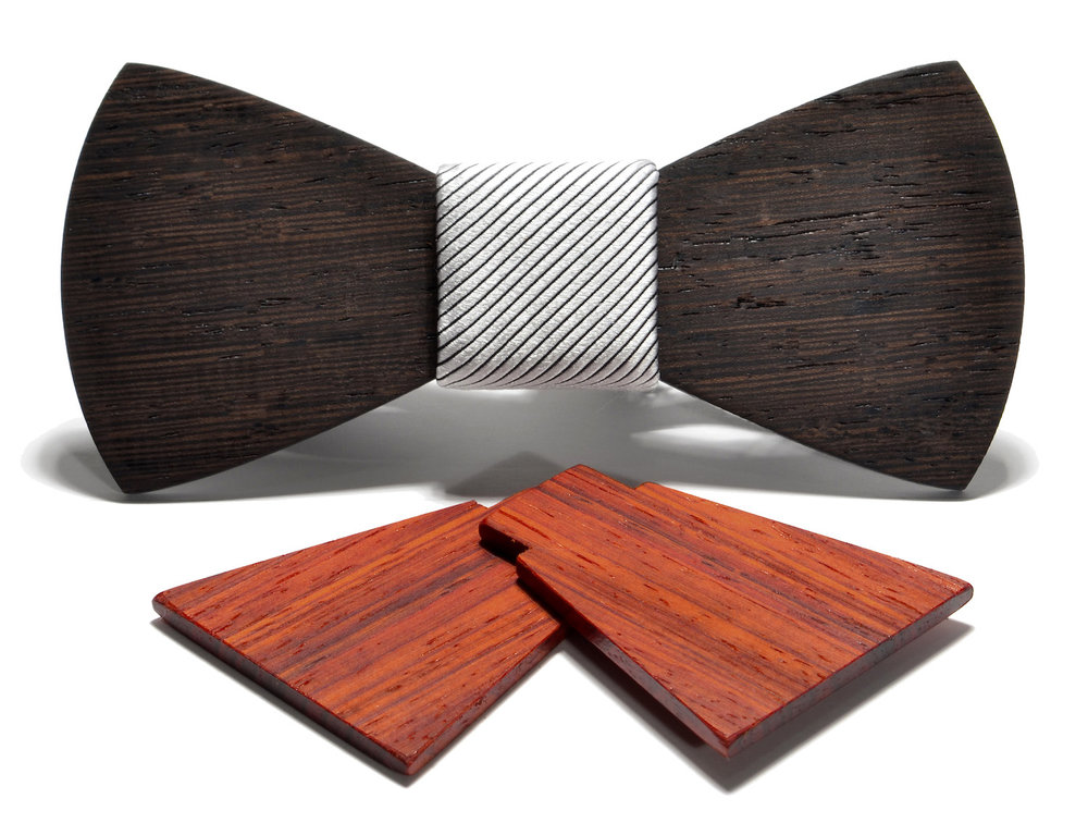 the Apollo interchangeable wood bow tie box set, padauk shorty w