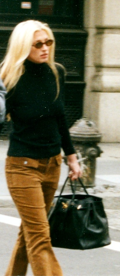 With corduroys and an Hermès Birkin bag in 1997