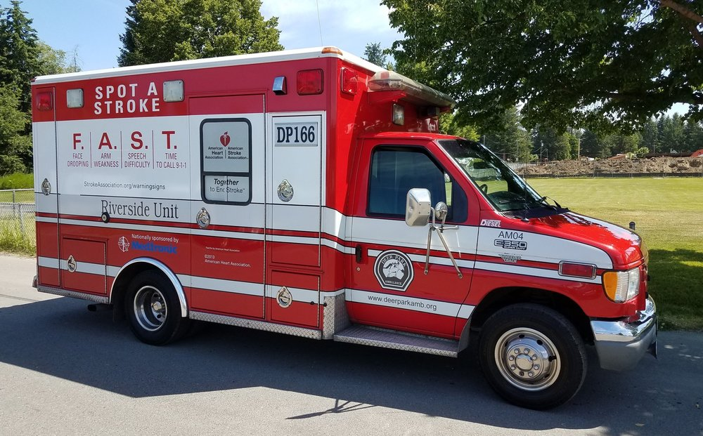Stroke Awareness Ambulance Graphic provided through funding from an organization providing Stroke awareness and education. Wrap was placed on the Riverside Community ambulance stationed at Fire Station 46.