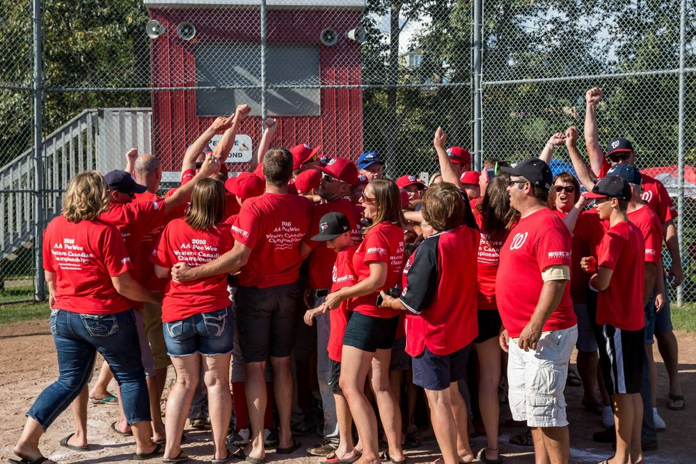 A very cool moment after Winkler (MB) won the 2016 Peewee AA Western Baseball Tournament. All the parents and volunteers who travelled the roughly 1,342km from southern Manitoba to St. Albert joined in the celebration | August 14 at Legion Memorial Ballpark, St. Albert