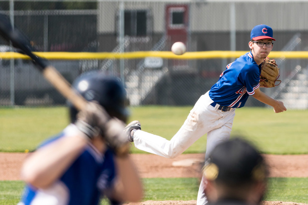 The Camrose Cougars Midget AA team would go on to win silver at the 2016 Provincial Tournament. This is a photo of pitcher Ty Twitchell pitching against the South Jasper Place Jays in the semi-final | August 1 at Millwoods Park, Edmonton