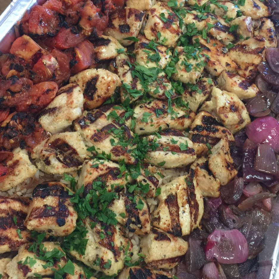 Chicken Shish Kabab w/ Rice and Grilled Vegetables   M $77.99 / L $149.99