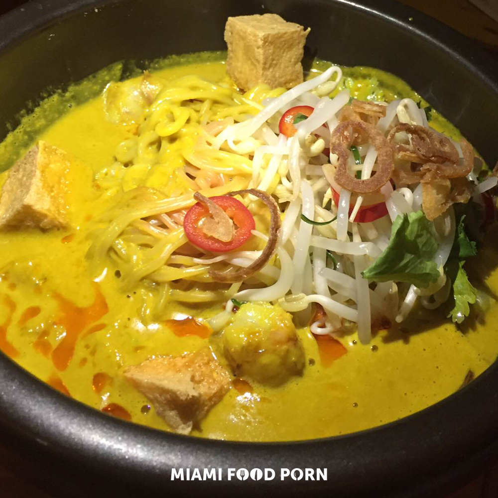 Rock Shrimp Laksa with coconut turmeric broth, tofu, egg noodles, bean sprouts, cilantro and lime
