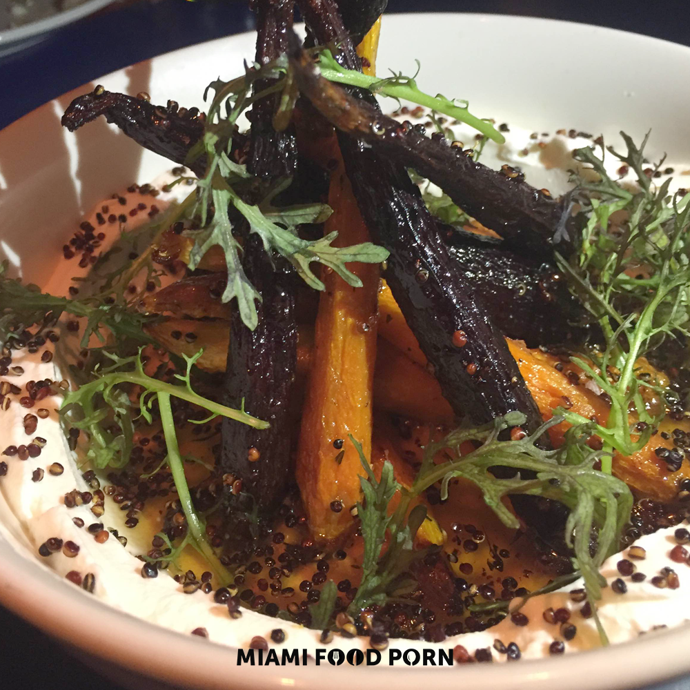 ROASTED HEIRLOOM CARROTS WITH CITRUS, GREEK YOGURT, GINGER, HONEY, CRISPY QUINOA.
