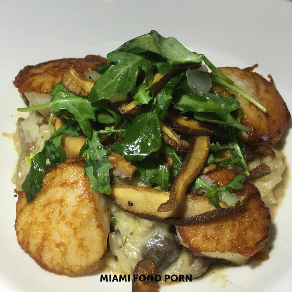 Jumbo pan-seared scallops with wild mushroom risotto