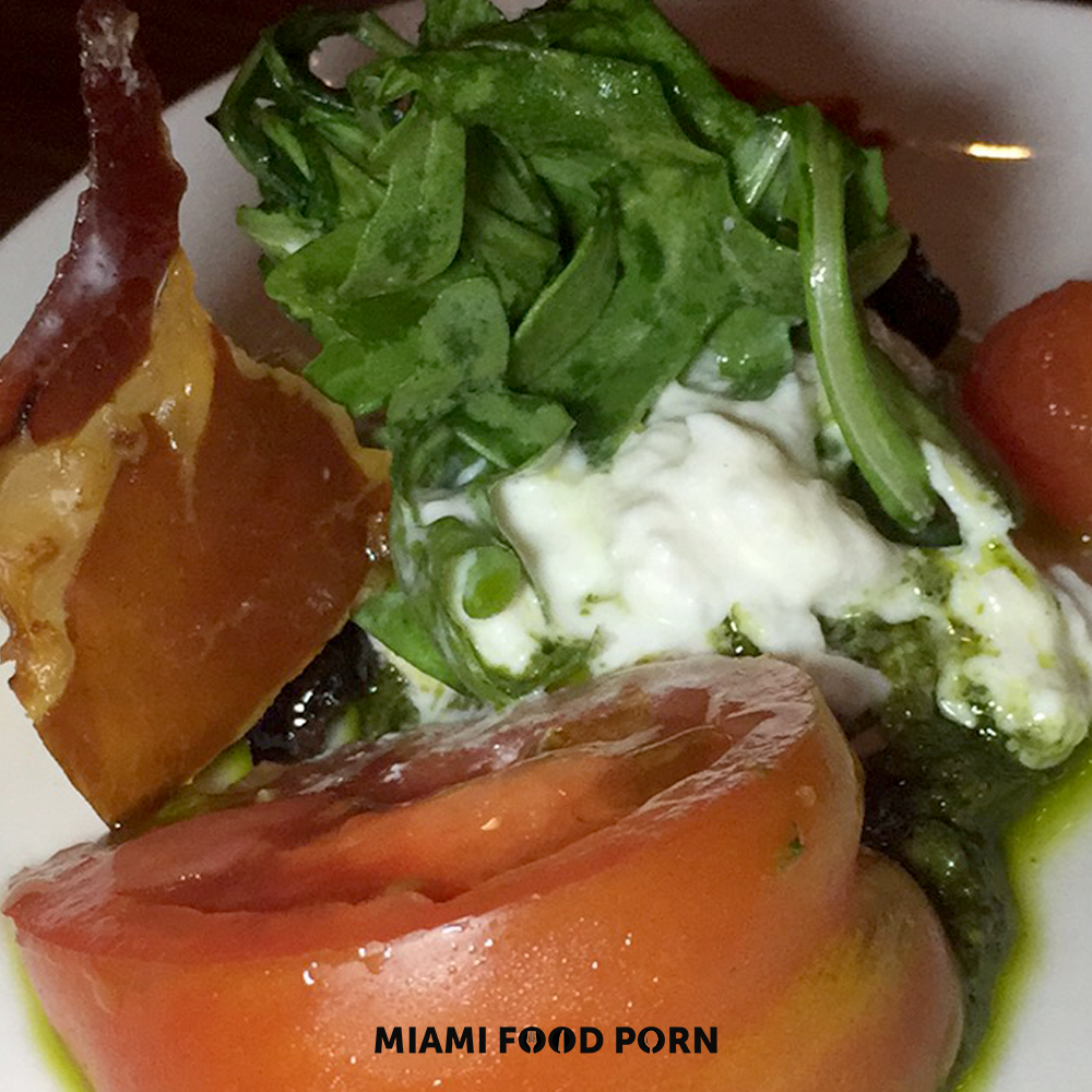 Heirloom Salad with Serrano ham and pesto