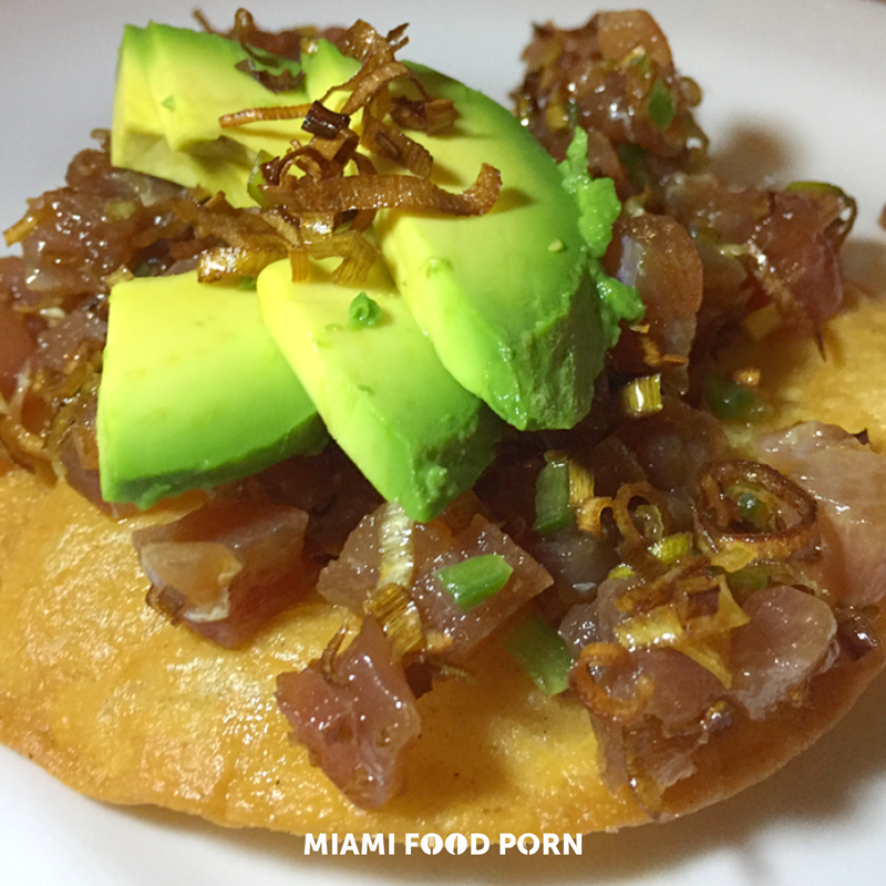 Tuna tostada, crispy leeks, lime, soy and chilies