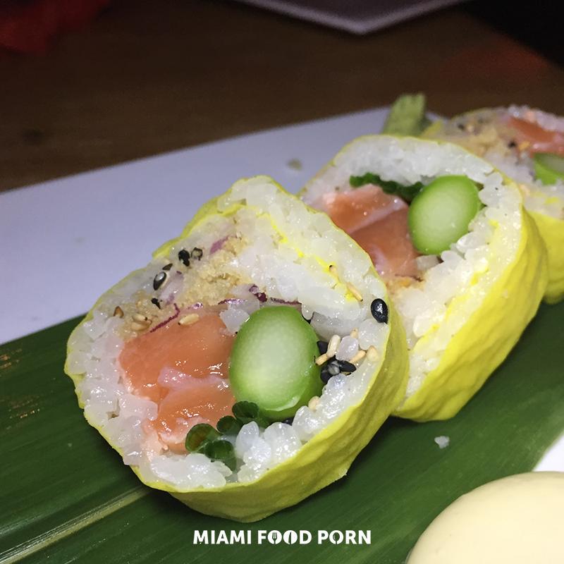 EZO soy-marinated salmon, asparagus, onion, chive, sesame, tempura flake, wasabi mayonnaise, soy paper