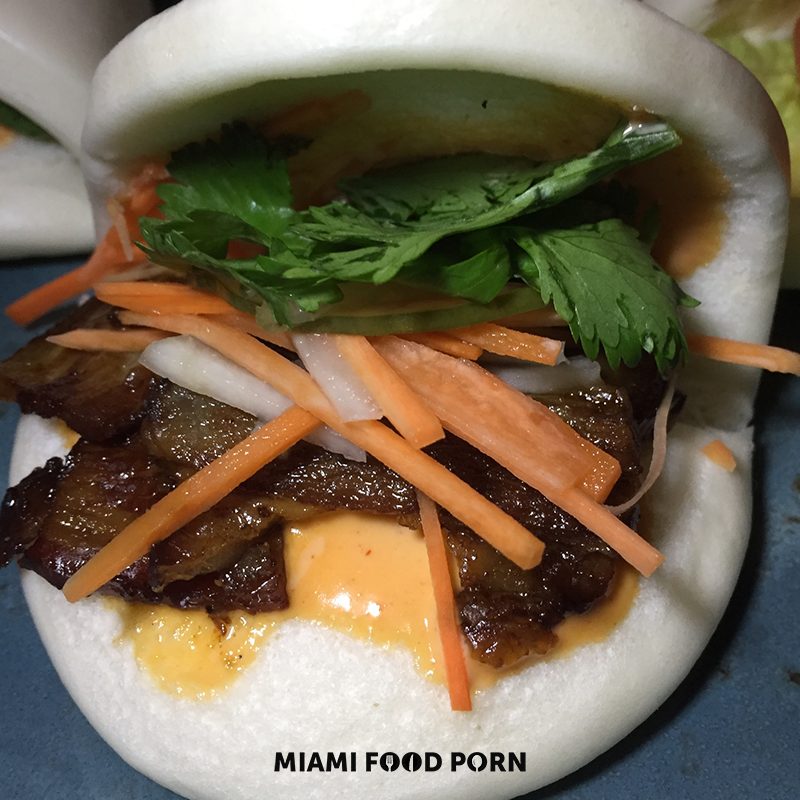 Pork Belly Bahn Mi Bao (Hoisin, cucumber, cilantro, pickled daikon and carrot, chili mayo)