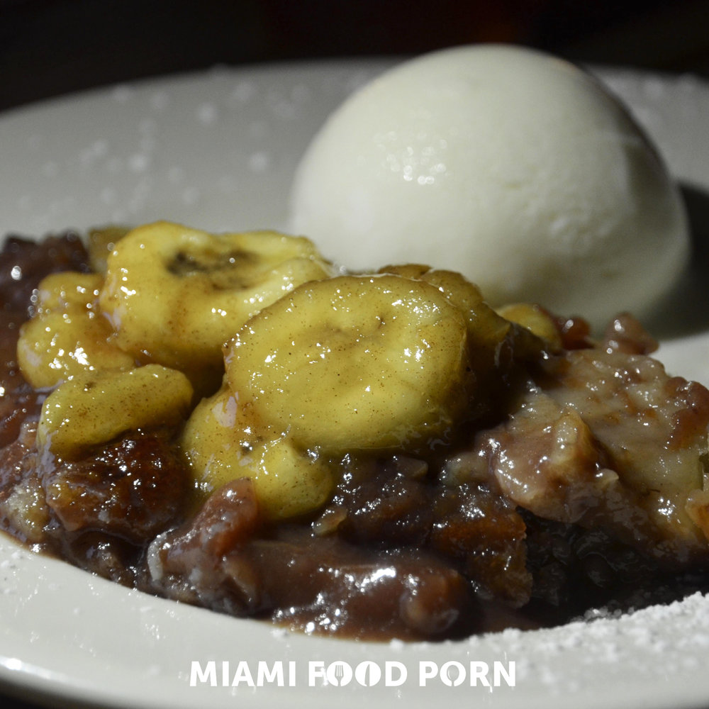 LOCAL TROPICAL FRUIT COBBLEr with Caramelized Banana & Coconut Milk Ice Cream