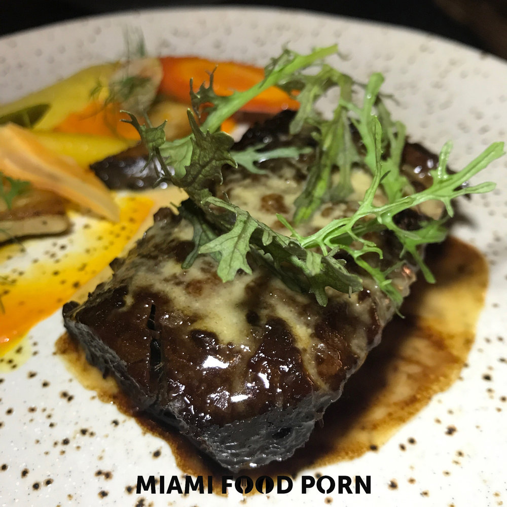 Umami Short Rib with trumpet mushrooms, carrot textures and miso mustard butter