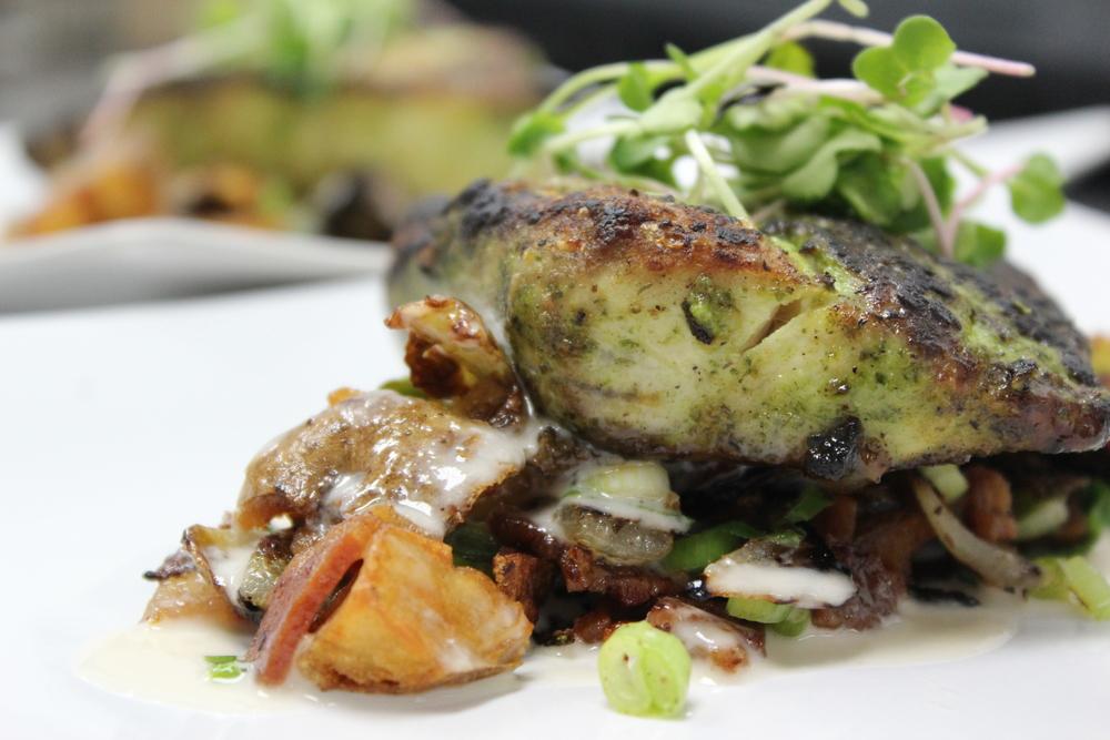 Mahi - Bacon & Brussel Hash - Buerre Blanc