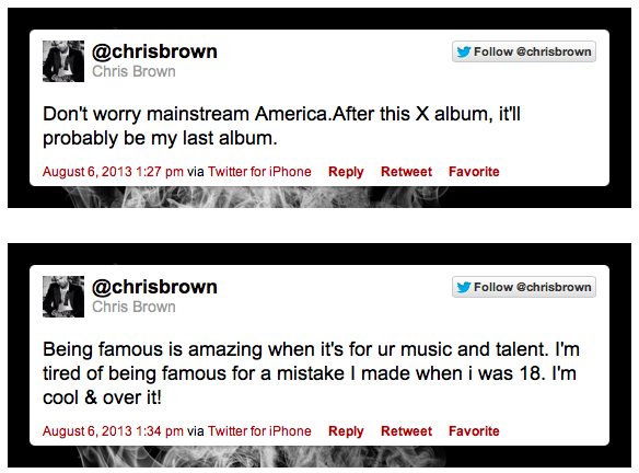 chris brown tweet quitting music