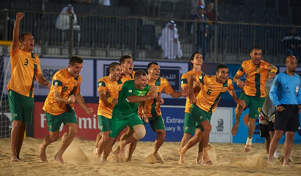 Beach Socceroos Celebrating.JPG