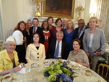 Gold Star sons and daughters at a White House breakfast on Memorial Day 2014. Center, seated, is former U.S. Secretary of Defense Chuck Hagel, who served in Vietnam.