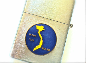 A lighter from Margot's grandfather showing the Air Force base where his son was stationed.