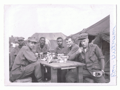 Ron's father, left, with his unit in Vietnam.
