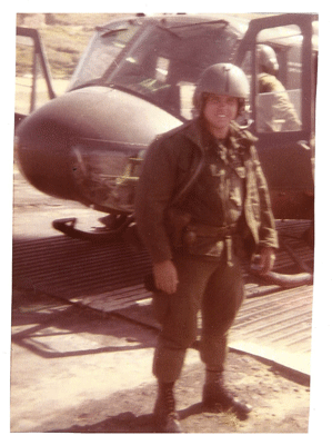 Mike's father in front of his helicopter in Vietnam.