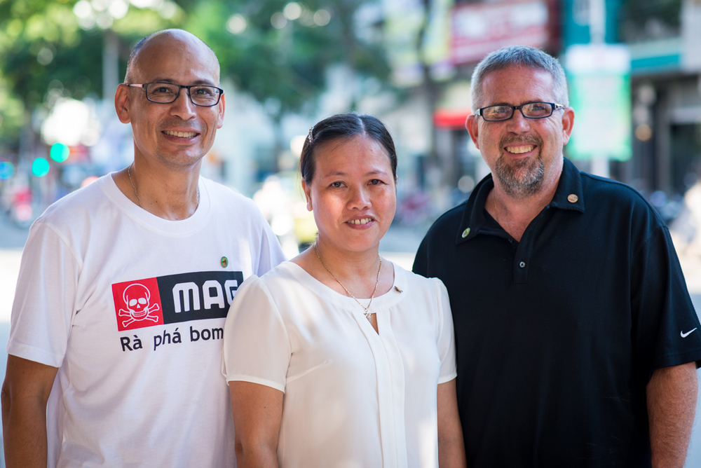 Ron and Mike with Phan Thi Hien. Ms. Hien was two years old when her father died. She could not add much detail in her comments because she found it too difficult to speak.