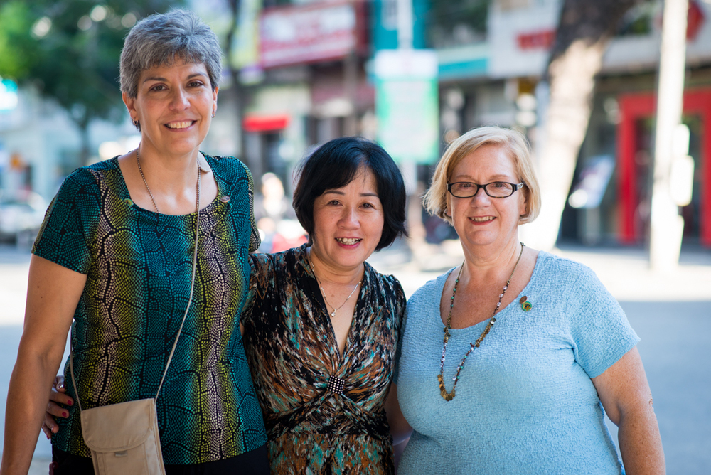 "Susan and Margaret with Troung Thi Li. Ms. Li's father was killed in 1967 when she was three years old. She said she was nervous about meeting us but glad we were ""sharing feelings today."""
