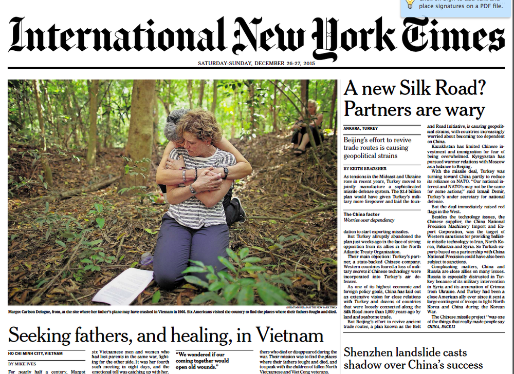 The Asia/Pacific Edition of the New York Times on Friday, December 25, 2015. The 2 Sides Project story was the top news in the region and the most emailed article that day.