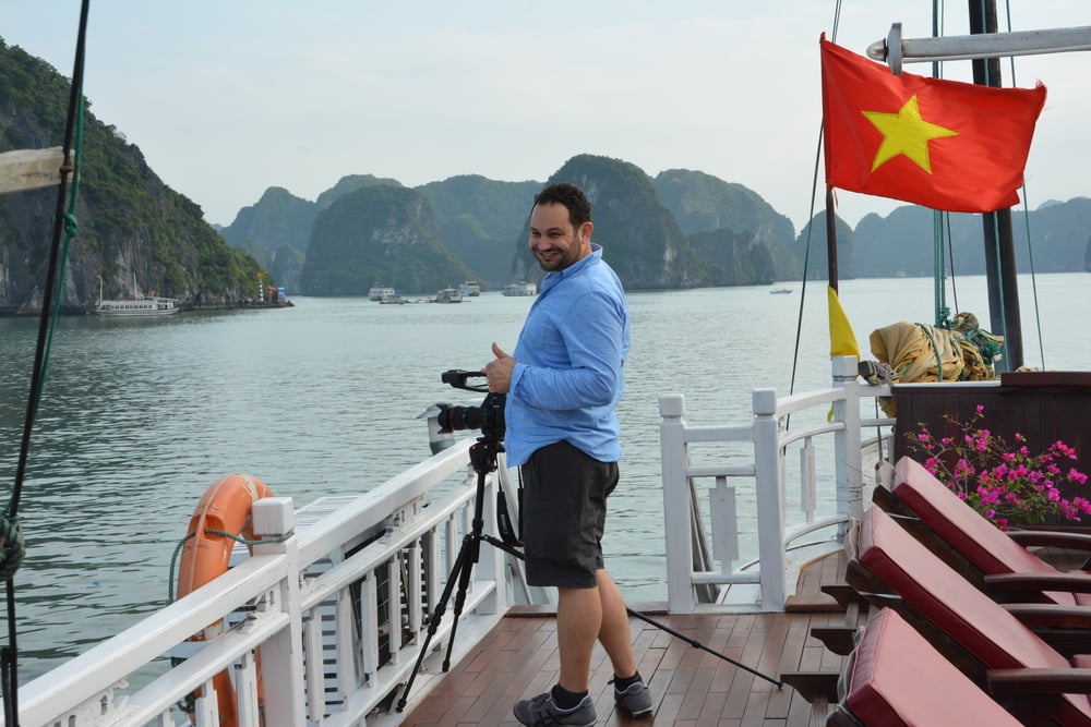 Anthony Istrico shooting in Halong Bay
