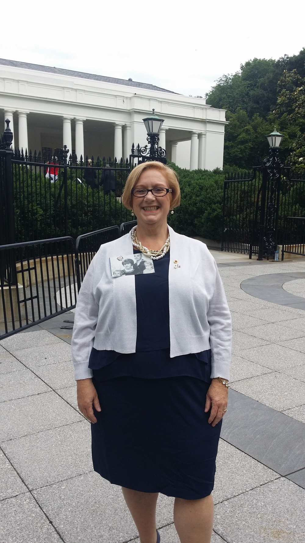 Susan outside the private guest entrance to The White House.  Photo courtesy Susan Mitchell-Mattera.