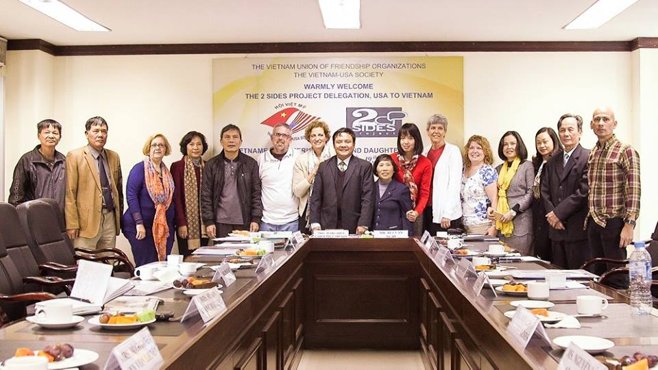 Sons and daughters on both sides of war meet formally for the first time in Hanoi. Mr. Liem is second from the right.     Photo courtesy Anthony Istrico, Istrico Productions.