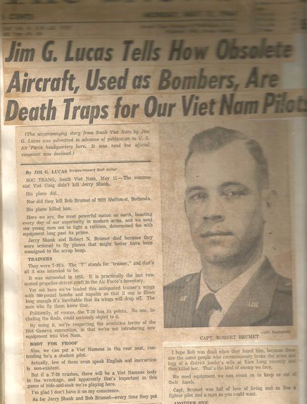 A newspaper article describing incidents involving overloaded training planes, including the accident that claimed Brumet's life.