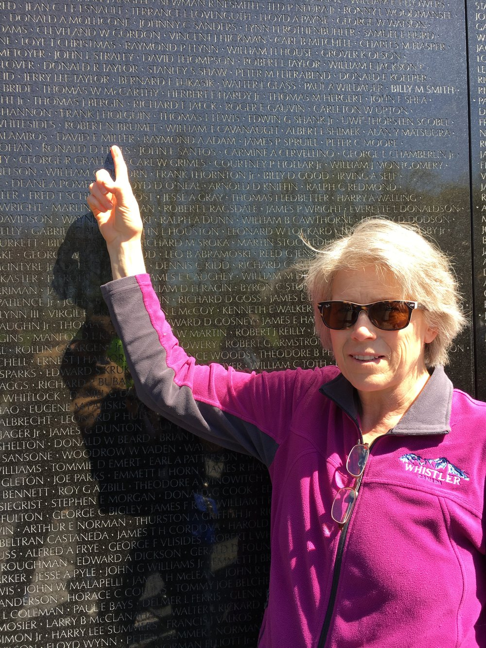 Bonnie at the Vietnam Veteran's Memorial in Washington D.C. on the 53rd anniversary of her father's death.