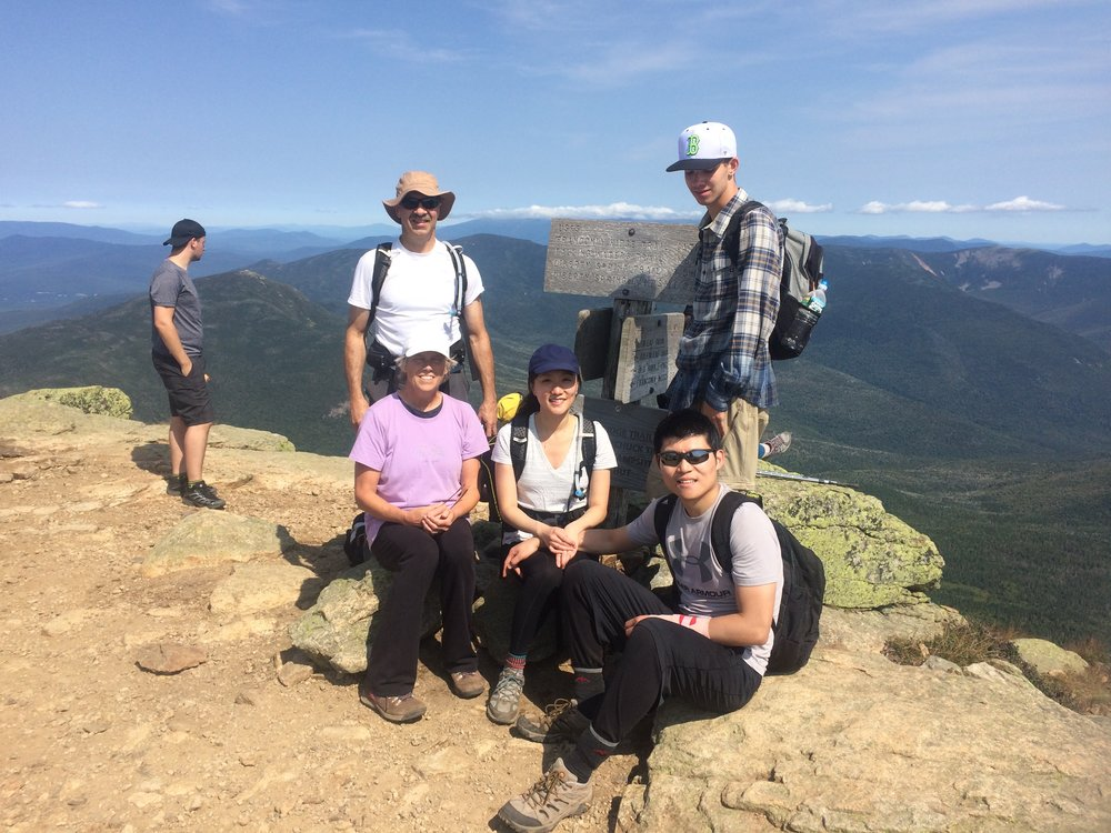 Hiking the Franconia Notch loop in New Hampshire with family.