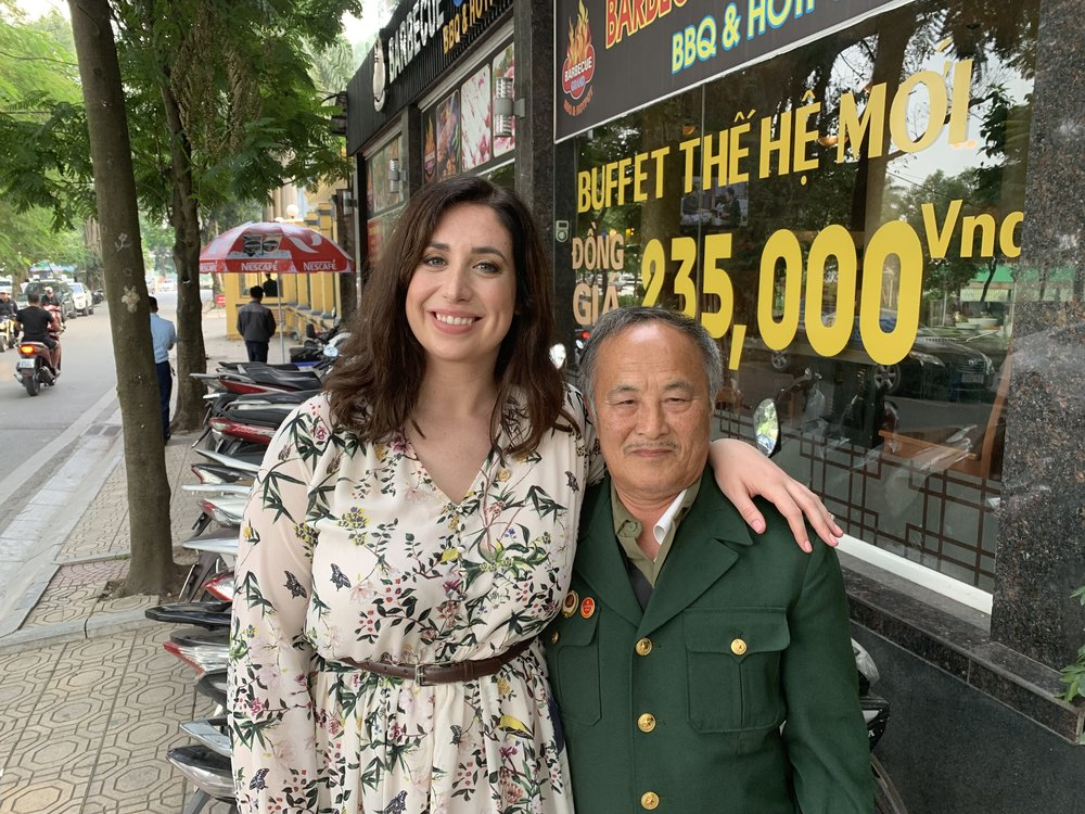 Nora Kubach, the editor and writer of  The 2 Sides Project documentary film, with American/Vietnam War veteran Doan Ky Thuy, who lost his right arm fighting for the Vietnamese side.