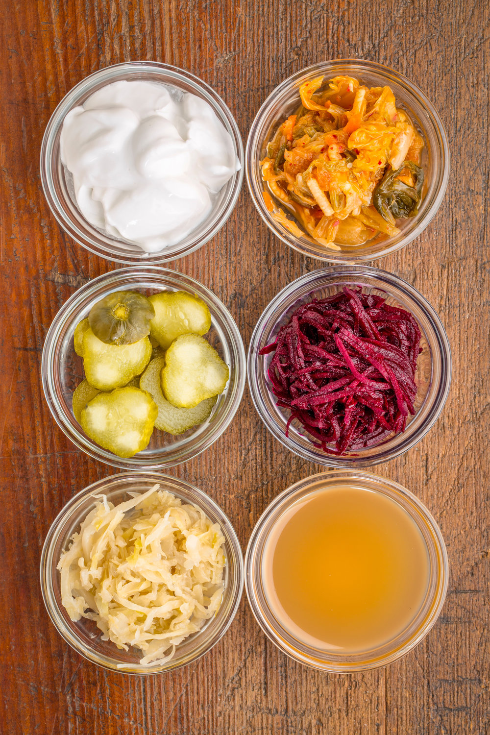 a set of fermented food great for gut health - top view of glass