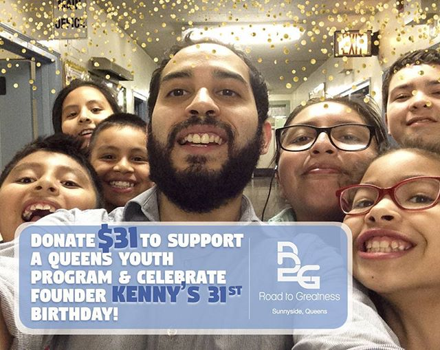 SPECIAL ANNOUNCEMENT 🎉🎉🎉 Our founder Kenny's 31st birthday is this Friday and we're collecting donations of any size (suggested $31) in lieu of birthday gifts! Find the link in our bio! 100% of your donations go straight to funding our Youth Program which offers Sports and Arts to local kids after school. 🙏 Thank you to everyone who has supported us along the way - it's your generosity that's gotten us this far! Happy Birthday Kenny!  #r2gnyc #birthday #fundraiser #sunnysidequeens #woodsidequeens #queenslove #donate #youthprogram #nycyouth #queenskids #queenscapes #queensny #nyc #ps199 #sports #arts #education #makemoves #supportourcause #nonprofit #donationsneeded #sunnyside