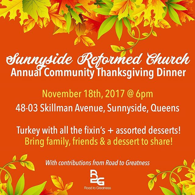It's that time of year again and R2G needs your help! This Saturday, we'll be serving a full Thanksgiving dinner to our neighbors, friends and family, and we need volunteers! DM us if you can lend a hand!  #sunnyside #giveback #woodside #sunnysidereformedchurch #thanksgiving #turkeyday #thanksgivingdinner #community #neighbors #queensny #qns #itsinqueens #queenscapes #volunteernyc #nycvolunteer
