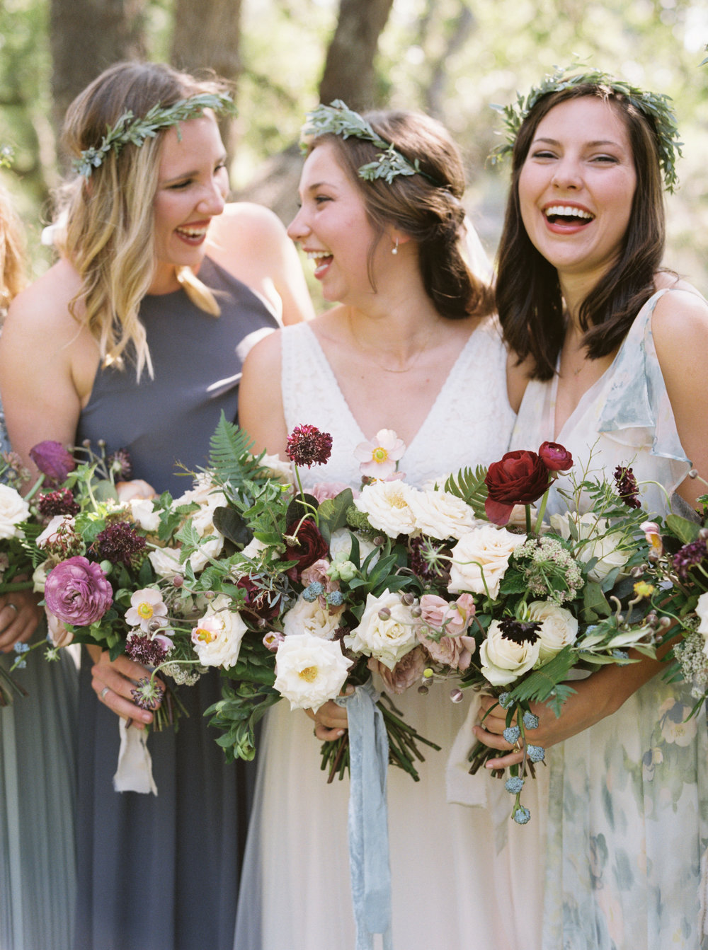 Austin Bride and Bridesmaids with Flower Crowns and Romantic Bouquets