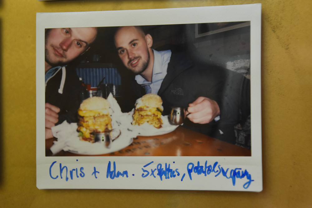 CHRIS + ADAM. 5 PATTIES, POTATOES & GRAVY