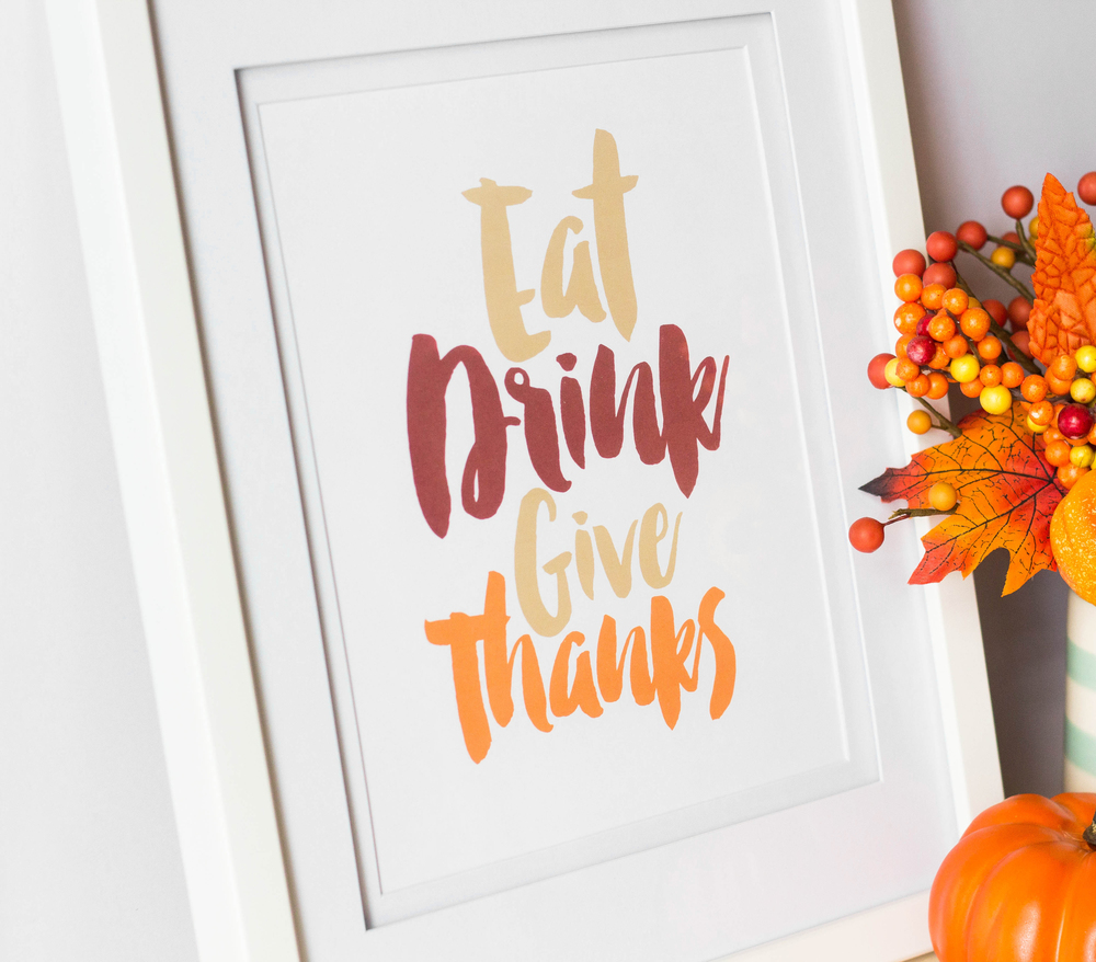Eat Drink Give Thanks Free Thanksgiving Printable by MKKM Designs