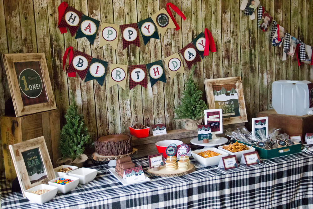 Lumberjack Birthday Party Set up